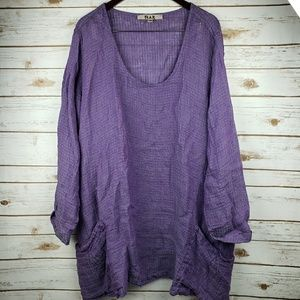 FLAX 100% linen top with pockets size 3x